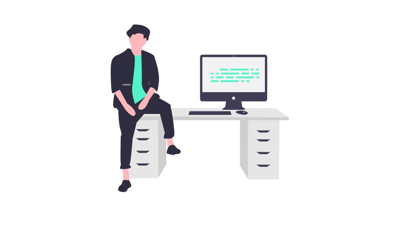 Illustration, homme assis bureau